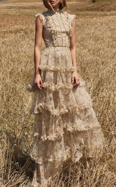 This Costarellos tiered lace tulle dress features a full length hemline and a tiered silhouette. Tulle Dress, Lace Dress, Boho Dress, Ball Dresses, Ball Gowns, Pretty Dresses, Beautiful Dresses, Boho Fashion, Fashion Dresses