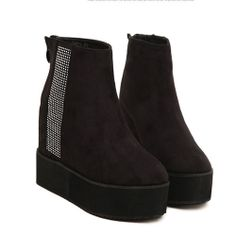 Round Toe Back Zipper Women's Ankle Boots
