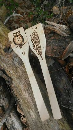 Check out this item in my Etsy shop https://www.etsy.com/listing/487948398/set-of-two-woodburned-design-bamboo-wood #owl #feather #woodburning #bamboo #woodenturners #etsy