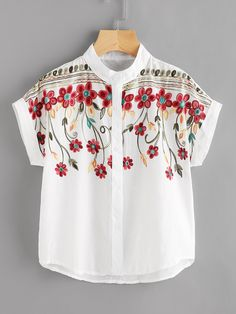 Shop Stereo Embroidery Batwing Blouse online. SheIn offers Stereo Embroidery Batwing Blouse & more to fit your fashionable needs.