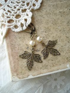 VINTAGE WOODS  Leaf Earrings. Antiqued by RomantiquarianDesign, $17.50
