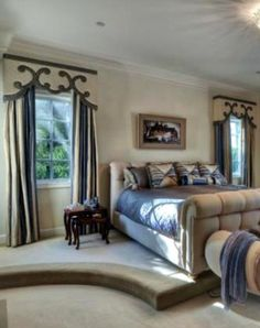 Valance board and striped drapes