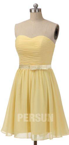 robe demoiselle d'honneur jaune courte bustier coeur plissé