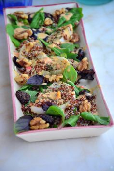 Roasted Onion Arugula Summer Salad with Creamy Hummus Dressing (Vegan, Dairy-Free, Gluten-Free, Soy-Free, Paleo) I tossed white onions in the oven and roasted them until they were super soft and tender- so they melt in your mouth. Then I tossed them with leafy greens, walnuts, red quinoa, dried cherries, a magnificent dairy-free 'creamy' dressing that is out-of-this-world and of course a boost of flavor from high quality sea salt and pepper.