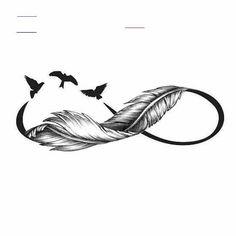 Ni Na Tattoo hinterm ohr Tattoo patte Infinity Tattoo With Feather, Infinity Tattoo Designs, Feather Tattoo Design, Infinity Tattoos, Wrist Tattoos, Body Art Tattoos, Small Tattoos, Plume Tattoo, Infinity Art