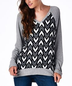 Black & Gray Chevron V-Neck Raglan Pullover