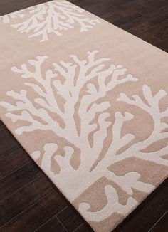 Coastal Seaside Bough - Doe Skin & Silver Birch Hand Tufted Rug: Beach Decor, Coastal Decor, Nautical Decor, Tropical Decor, Luxury Beach Cottage Decor