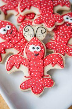 Fleur de lis crawfish cookies - Kookie Kreations by Kim Summer Cookies, Fancy Cookies, Royal Icing Cookies, Iced Cookies, Cute Cookies, No Bake Cookies, Cupcake Cookies, Crawfish Party, Crawfish Season