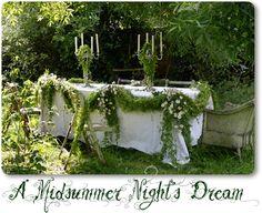 Bilderesultat for midsummer night's wedding Enchanted Forest Wedding, Woodland Wedding, Woodland Fairy, Enchanted Garden, Wedding Night, Dream Wedding, Garden Wedding, Wedding Table, Wedding Decor