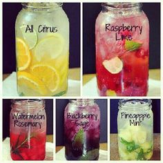 Flavored water with fresh fruit.