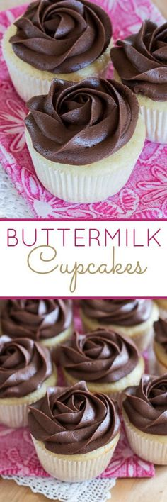 These tender Buttermilk Cupcakes are full of sweet vanilla flavor. This mix-by-hand recipe is just as easy to prepare as box-mix cupcakes, but it tastes infinitely better.(Homemade Butter By Hand) Buttermilk Cupcakes, Buttermilk Recipes, Baking Cupcakes, Yummy Cupcakes, Cupcake Cookies, Cupcake Recipes, Baking Recipes, Dessert Recipes, Cupcakes Fall