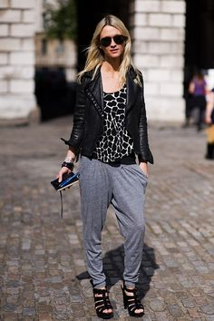 """Hi! I really like your blog so never stop posting please!  I have this comfortable like gray-black harem pants and i don't know what is the best way to style them because i don't want to look too sporty or like """"swagger style"""". Could you help me find a way to put it together and look maybe a little elegant, chic or even bohemian? Thank you!"""
