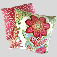 Annie Selke Raspberry Floral Pillow Cover by PopOColor Patio Pillows, Throw Pillows, Cushions, Decorative Pillow Covers, Decorative Items, Floral Pillows, Pink Pillows, Pillow Inspiration, Fabric Rug
