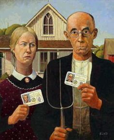 A Spoof On American Gothic Painting By Grant Wood Image Credit