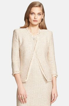 St. John Collection Sparkle Tweed Knit Asymmetrical Jacket available at #Nordstrom