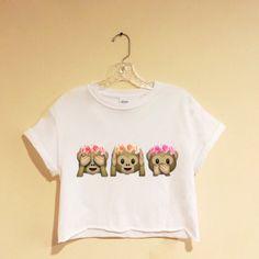 Flower Crown Monkey Emoji crop top flower by latrendyclothes