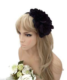 Fabulous Large Black Satin Flower Fascinator headband Ladies or Girls