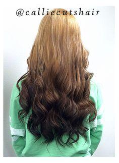 @calliecutshair  Blonde to dark brown, reverse ombré hair