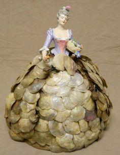 Porcelain Half Doll in Shell Skirt