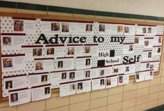"This is a back to school bulletin board for high school. Teachers wrote ""Advice to My High School Self.""  Some fun and wise advice shared, enjoyed by students and staff alike! Also a nice picture directory for new staff."