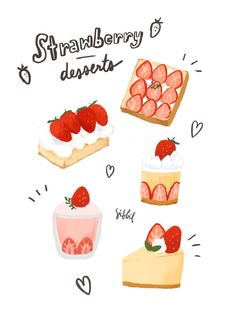 Food Doodles, Cute Doodles, Cute Food Drawings, Kawaii Drawings, Cute Food Art, Cute Art, Dessert Illustration, Food Sketch, Strawberry Desserts