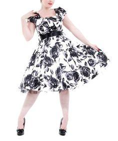 94af7990176 HEARTS   ROSES LONDON Black   White Vintage Floral A-Line Dress - Women
