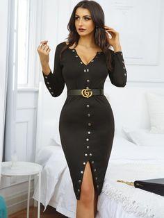 Stylish Snap Button Design Midi Bodycon Dress Source by fashion Trendy Dresses, Tight Dresses, Casual Dresses, Fashion Dresses, Trendy Outfits, Bodycon Outfits, Bodycon Dress, Celebrity Dresses, Sexy
