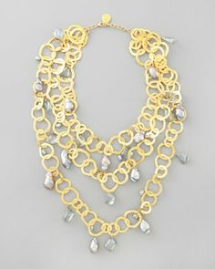 Triple-Strand Flat-Link Pearl Necklace by Devon Leigh at Neiman Marcus.  This is gold-plated brass @ $940.00!!