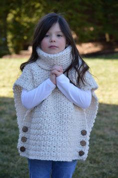 Crochet Pullover Sweater with Cowl Neck and Button Closure. Child size Crochet Pullover Sweater with Cowl Neck and Button Closure. Crochet Baby Clothes, Crochet Baby Hats, Baby Blanket Crochet, Knit Crochet, Crochet Poncho Patterns, Baby Knitting Patterns, Baby Sweaters, Pullover Sweaters, Baby Pullover