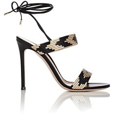 Gianvito Rossi Women's Suni Ankle-Tie Sandals ($995) ❤ liked on Polyvore featuring shoes, sandals, heels, high heels, colorless, high heel stilettos, leather sole sandals, high heel sandals, black high heel sandals and black leather sandals