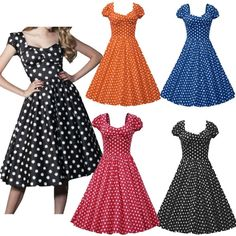 2016 Vintage Retro Swing 50S Polka Dot Pinup Housewife Prom Evening Party  Dress