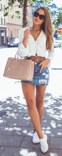 Ripped Denim Skirt Outfit Idea by Kenzas