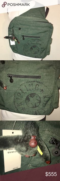 CCO 💟 HP 🎉🌼 NWT 🌼 KIPLING Backpack / Messenger Brand NEW Kipling messenger bag. Cool forest green color with adjustable sling strap, multiple pockets and zipper closure. Super cute signature monkey attached. NWT. Nonsmoking home. Happy Poshing! 😊💖 Back to Basics Host Pick — Thanks @centsible_wear 😘❤️ Kipling Bags Backpacks