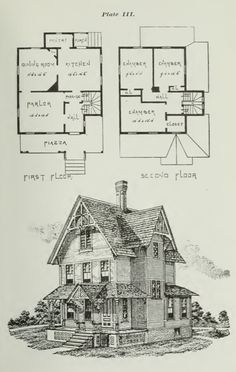 26 Victorian American Architecture Building Plans Houses Churches Barn 96 Printable Pages Instant Do Victorian House Plans, Vintage House Plans, Victorian Homes, Sims House Plans, House Floor Plans, Building Plans, Building A House, Interior Design Courses Online, Victorian Architecture