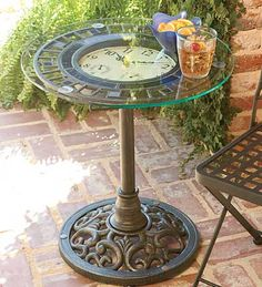"Indoor/Outdoor Mosaic Cast Iron and Glass Clock Table - Size: 21"" dia. x 21""H    Original Price:	 	$ 249.95	     Price:	  	$199.99"