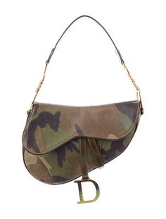 Green and brown camo print bag with glitter and gold-tone hardware, patent leather piping and strap, front Velcro closure and one interior zip pocket Camo Fashion, Diva Fashion, Dior Saddle Bag, Saddle Bags, Camo Bag, Bag Closet, Branded Bags, Louis Vuitton Handbags, Purses