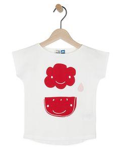 Wit T-shirt met rode print RCW - T-shirts - Kleding - 2 - 7 jaar - Meisjes - JBC