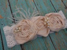 Shabby Chic Headband, Baby/Girl/Woman Hair Accessory, Ivory Rosette Headband, Flower Girl, Newborn Accessory, Wedding Hair Accessory