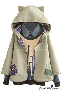 Hooded Long Sleeve Button Down Tweed Plain Coat - Beautifulhalo.com