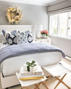 Loving this blue and white bedding! Those pillows are gorgeous! Blue And White Bedding, Blue Bedding, Guest Room Paint, Bedroom Colors, Bedroom Decor, Driven By Decor, Guest Bedrooms, Coastal Bedrooms, Master Bedrooms