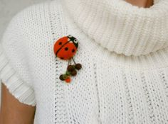 Ladybug brooch with felt balls, Needle felted orange ladybug, Insect brooch, Kids brooch, Eco friendly brooch, Gift for her, Ladybug jewelry