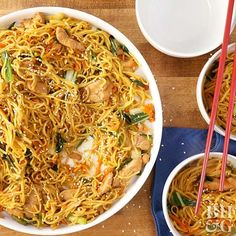 We call for shredded carrot, chopped bok choy, and sliced green onions in this chicken and noodle recipe, but feel free to customize with any of your favorite veggies (or any you have handy). Bell pepper strips, snap peas, and thinly-sliced mushrooms would be wonderful additions to the sesame- and soy-scented dish.