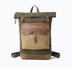 This classic unisex backpack is big and roomy. This bag is made of pre-washed canvas for that soft, pliable feel. Large portfolio flat structure makes this bag great for holding your laptop and notebooks. Great for carrying all your essentials whether at school, on the trail or just on the go. Its main compartment will fit most laptops with ease with extra room a weeks worth of survival necessities (books, phone, gum, socks, etc.). Color: Olive with natural brown leather, 3.0 gallon large…