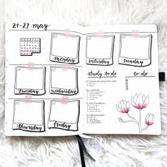 This weeks spread is a little more artsy and less planned or structured! I wante Bullet Journal Bullet Journal Weekly Layout, Bullet Journal Notebook, Bullet Journal Aesthetic, Bullet Journal School, Bullet Journal Spread, Bullet Journal Inspo, Bullet Journal Ideas Pages, Journal Pages, Bullet Journals
