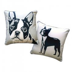 Naked Decor Boston Terrier Reversible Pillow ($54) found on Polyvore