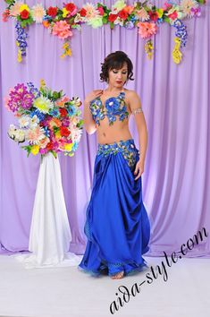 Every flower on this costume is adorned with big clear stones and smaller crystals. Everything is sparkling, and each stone adds the charm to the whole look.