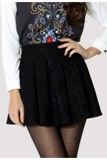 Lace Skater Skirt in Black $44.90  http://www.chicwish.com/lace-skater-skirt-in-black.html  #Chicwish