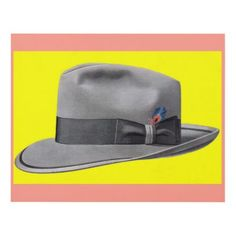 1950s mens fedora hat print - fathers day best dad diy gift idea cyo personalize father family