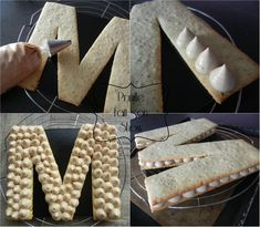 collage montage cake prunillefee letter - My CMS Bolo Fondant, Sweet Recipes, Cake Recipes, Alphabet Cake, Cake Lettering, Monogram Cake, Biscuit Cake, Number Cakes, Cake & Co