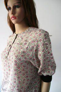 Vintage 90s Blouse Shirt UK 10 Red Floral Print Shimmer Grey Short Sleeve   eBay